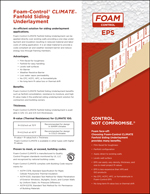 Foam-Control CLIMATE Siding Underlayment Product Literature