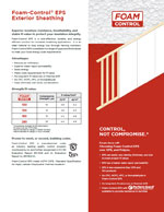 Foam-Control EPS Exterior Sheathing Product Literature