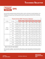 Foam Control EPS Thickness Selector Product Literature